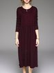 Wine Red Crew Neck Knitted Casual Sweater Dress