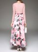 Pink V Neck Polyester Long Sleeve Floral Printed Maxi Dress