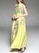Yellow Crew Neck Embroidered A-line Evening Dress