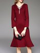 Wine Red Long Sleeve Ruffled Beaded Midi Dress