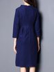 Blue A-line Embroidered Midi Dress with Pockets