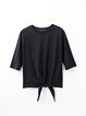 Solid Casual Cotton Short Sleeve Crew Neck T-Shirt
