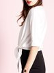 Solid Casual Cotton Shorts Sleeve Crew Neck T-Shirt