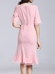 Elegant Flounce Crew Neck Frill Sleeve Midi Dress