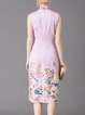 Pink Satin Vintage Birds Embroidered Midi Dress