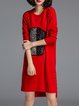 Red Beaded Wool Blend Long Sleeve Shift Sweater Dress
