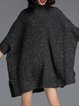 Stand Collar Casual Batwing Plain Knitted Sweater Dress