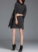 Gray Slit Casual Crew Neck Polyester Sweater Dress