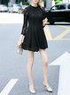 Black Pierced Long Sleeve Crocheted Lace Mini Dress