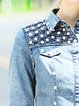 Blue Shirt Collar Casual Denim Cropped Jacket
