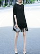 Black Knitted Fringed 3/4 Sleeve Mini Dress