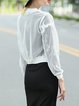 White Cropped Stand Collar Long Sleeve Beaded Bomber Jacket