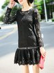 Black Guipure Lace Crew Neck  Elegant Mini Dress