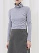 Gray Cotton-blend Long Sleeve Turtleneck Plain Long Sleeved Top