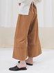 Orange Plain A-line Simple Wide Leg Pants