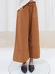 Orange Plain A-line Simple Wide Leg Pants