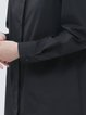 Black Stand Collar H-line Long Sleeve Midi Dress
