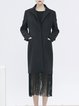 Black Solid Fringed Lapel Elegant Coat
