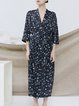 Navy Blue Casual Lapel Floral Maxi Dress With Belt
