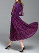 Long Sleeve Floral Elegant Surplice Neck Lace Maxi Dress