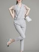 Work Pockets V Neck Plain Sleeveless Jumpsuit