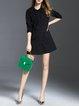 Buttoned A-line Casual Long Sleeve Paneled Shirt Dress