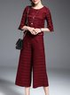 Stripes Two Piece Frill Sleeve Casual Jumpsuit