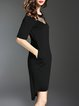 Asymmetric H-line Half Sleeve Sexy Crew Neck Pockets Midi Dress