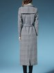 Black Houndstooth Lapel Elegant Wool blend Coat With Belt