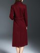 Wine Red Lapel Long Sleeve Embroidered Wool blend Coat