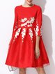 Red Ball Gown 3/4 Sleeve Embroidered Midi Dress