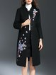 Black Long Sleeve Wool Blend Embroidered Coat