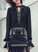 Black Chiffon Tribal Keyhole Vintage Blouse