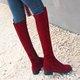 Burgundy Chunky Heel Zipper Suede Boots