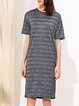Stripes Crew Neck Pockets H-line Casual Short Sleeve Midi Dress