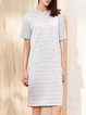 Shorts Sleeve Crew Neck Stripes H-line Casual Midi Dress