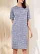 Short Sleeve Crew Neck Stripes H-line Casual Midi Dress