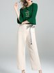 Green Crew Neck Two Piece Bell Sleeve Top With Pants