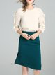 3/4 Sleeve Elegant Solid Top With Skirt