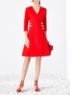 Red Buttoned 3/4 Sleeve A-line Mini Dress