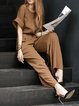 Coffee Plain Pockets Vintage Jumpsuits