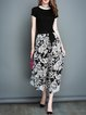 Black Floral Shorts Sleeve Chiffon Two Piece Jumpsuit