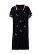 Black Casual Shift Printed Shirt Collar Midi Dress