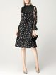 Casual Long Sleeve Floral Stand Collar Midi Velvet Dress