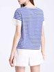 Stripes Crew Neck Appliqued Casual T-Shirt