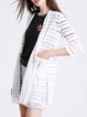 Sheer 3/4 Sleeve H-line Slit Stripes Cardigan