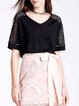 Solid Basic Simple Lace Half Sleeve T-Shirt