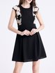 Black Basic Guipure Lace Sleeveless A-line Mini Dress
