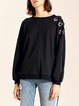 Solid Casual Lace Up Long Sleeved Top