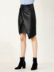Black Folds Leather Skirt